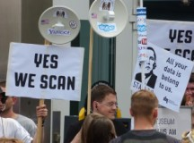 A group of NSA protestors in Berlin.