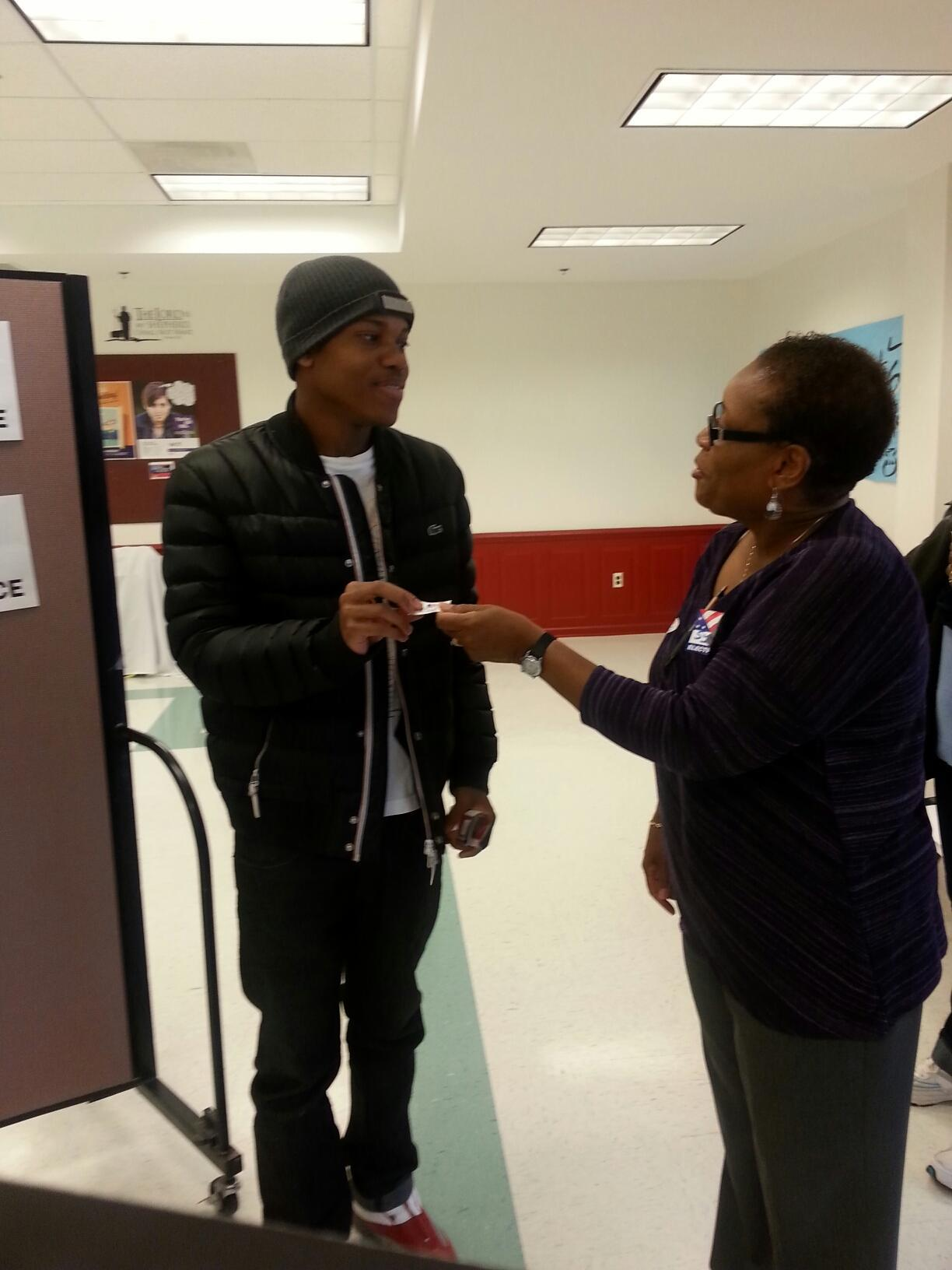 Baltimore City resident Justin Coleman, 18, votes for the first time