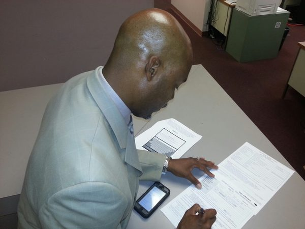 "Russell Neverdon files official documents allowing him to be a ""write-in"" candidate for State's Attorney on November 4, 2014"