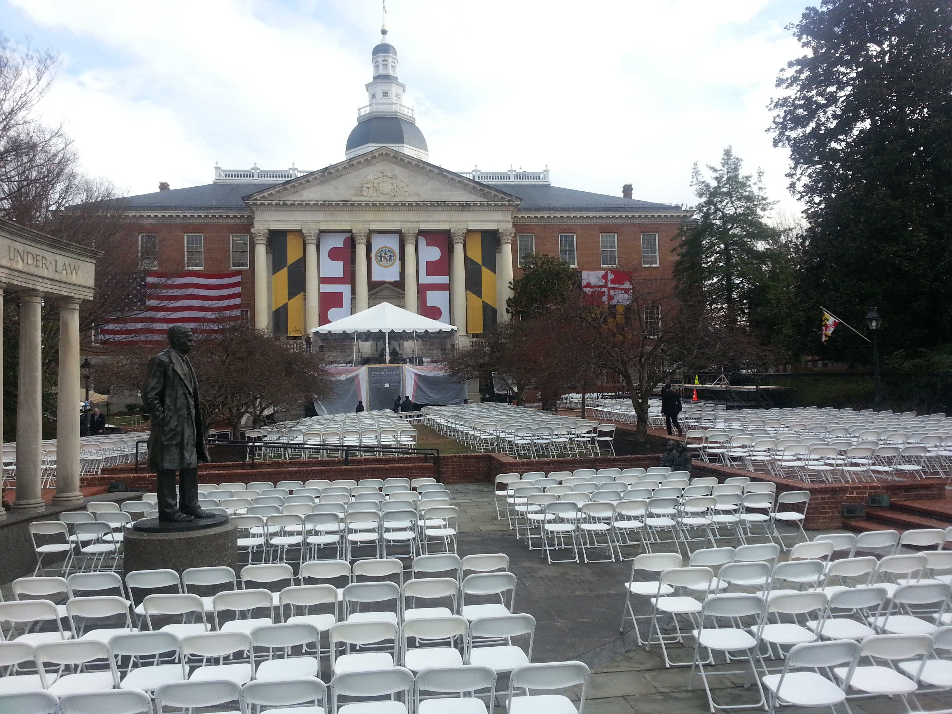 All that is missing are the dignitaries; the courtyard in Annapolis is readied for the inauguration