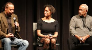 Left to Right   Jamal Joseph former Black Panther, Producer for Firelight Media Marcia Smith, Director Stanley Nelson(Firelight Media) Photo by Babatunde Salaam