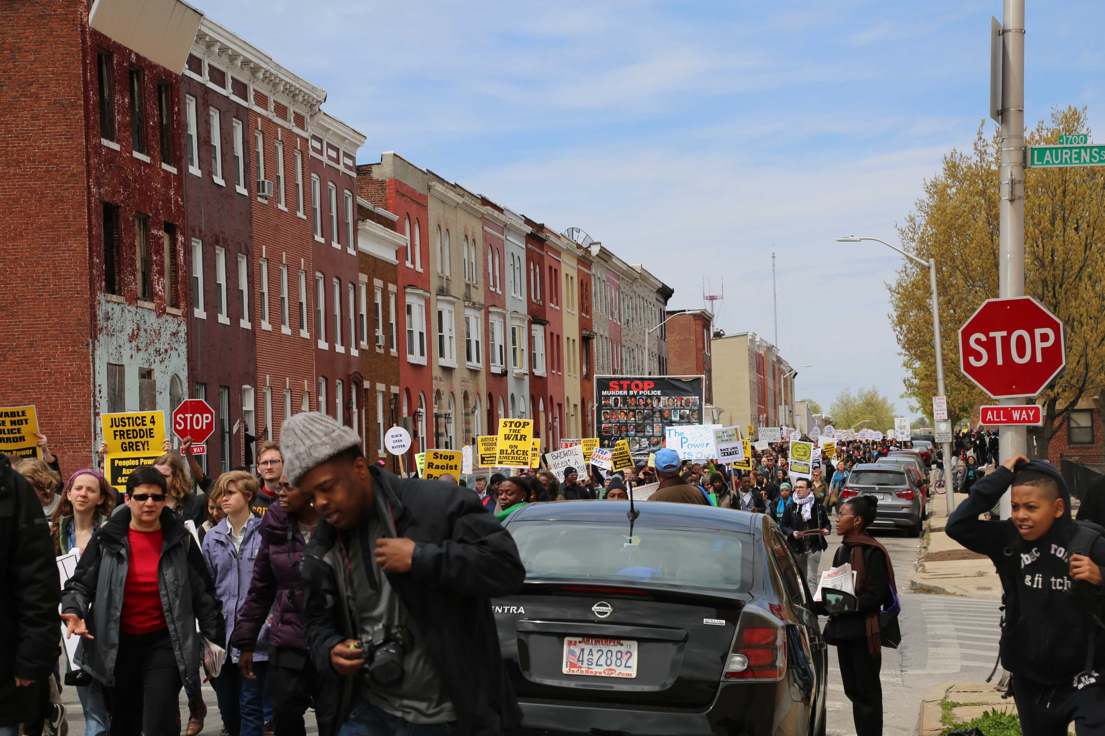 Protesters marching to City Hall for Saturday's national rally.
