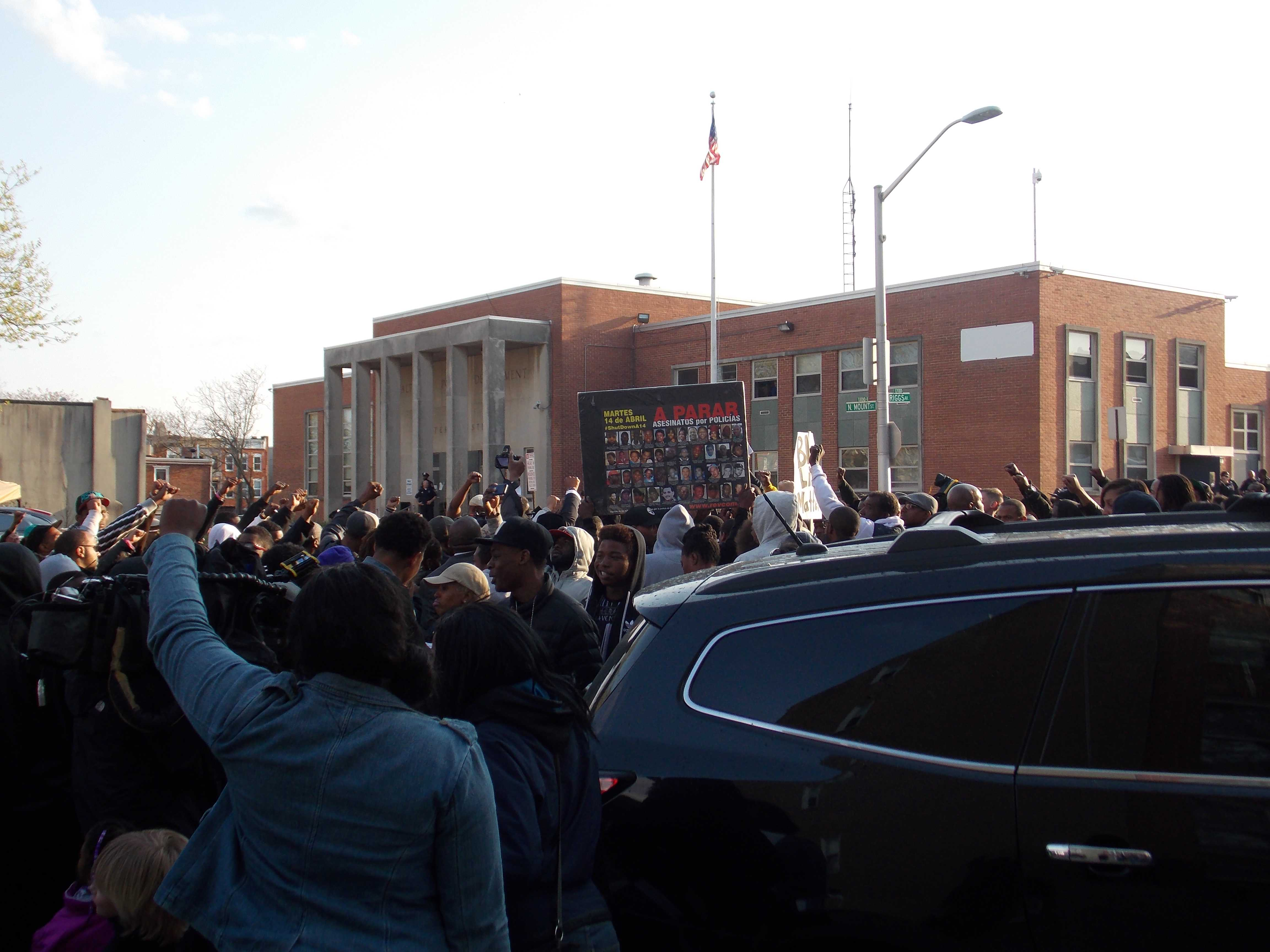 Citizens once again rally at the Western District Police Station in order to demand justice for Freddie Gray.