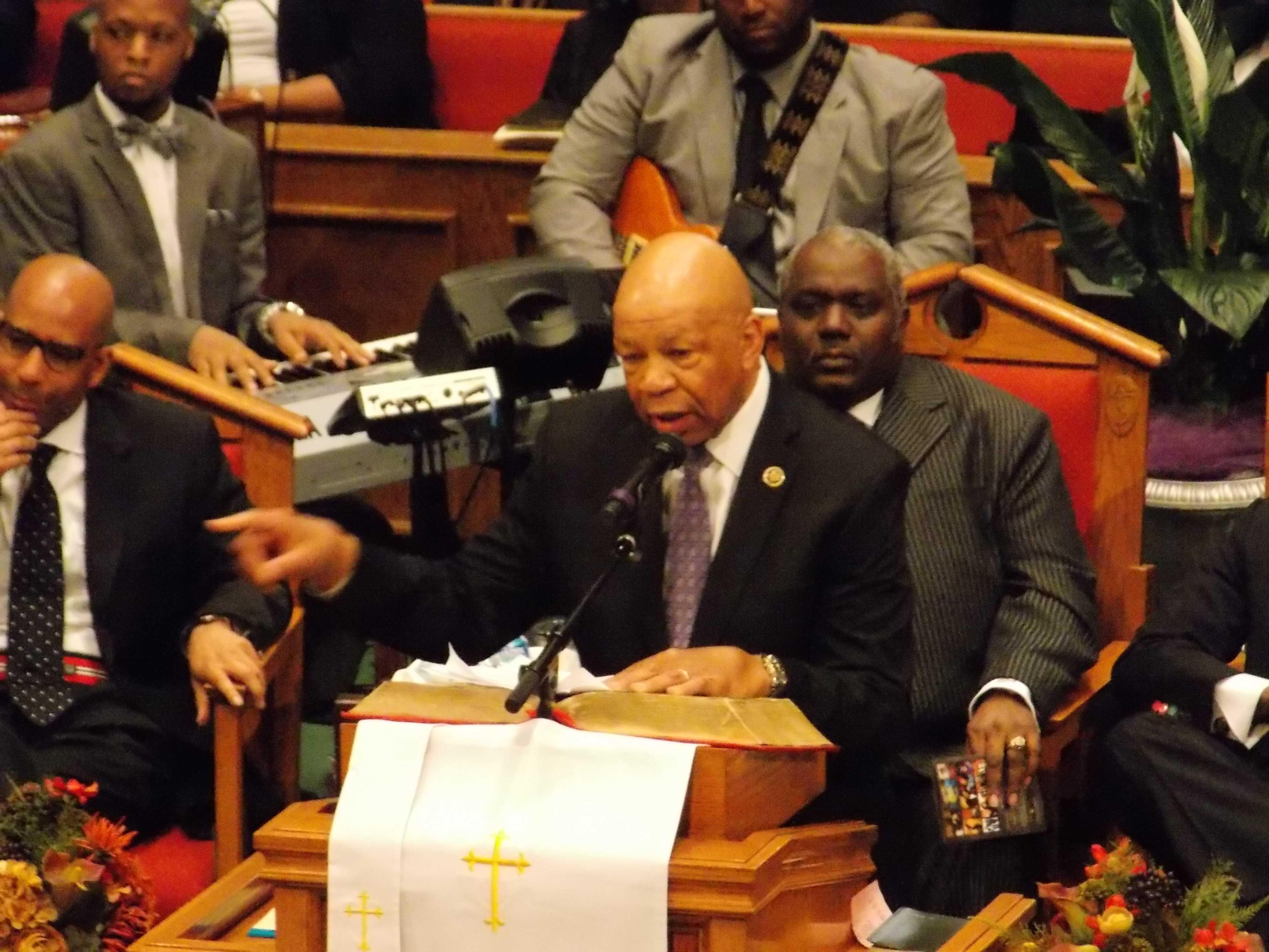 Rep. Elijah Cummings speaking at Freddie Gray's funeral.