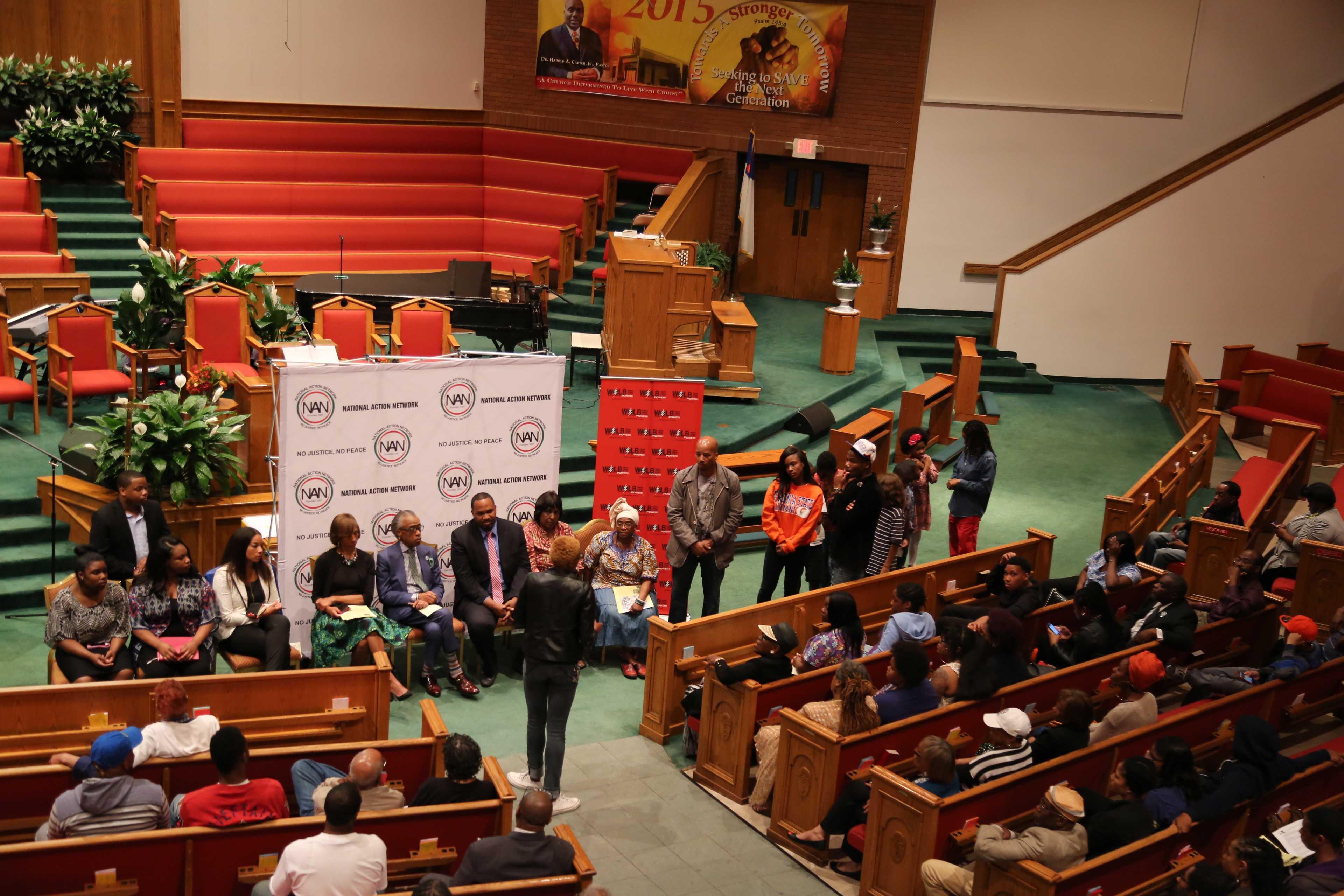 Al Sharpton and panelists at New Shiloh Baptist Church