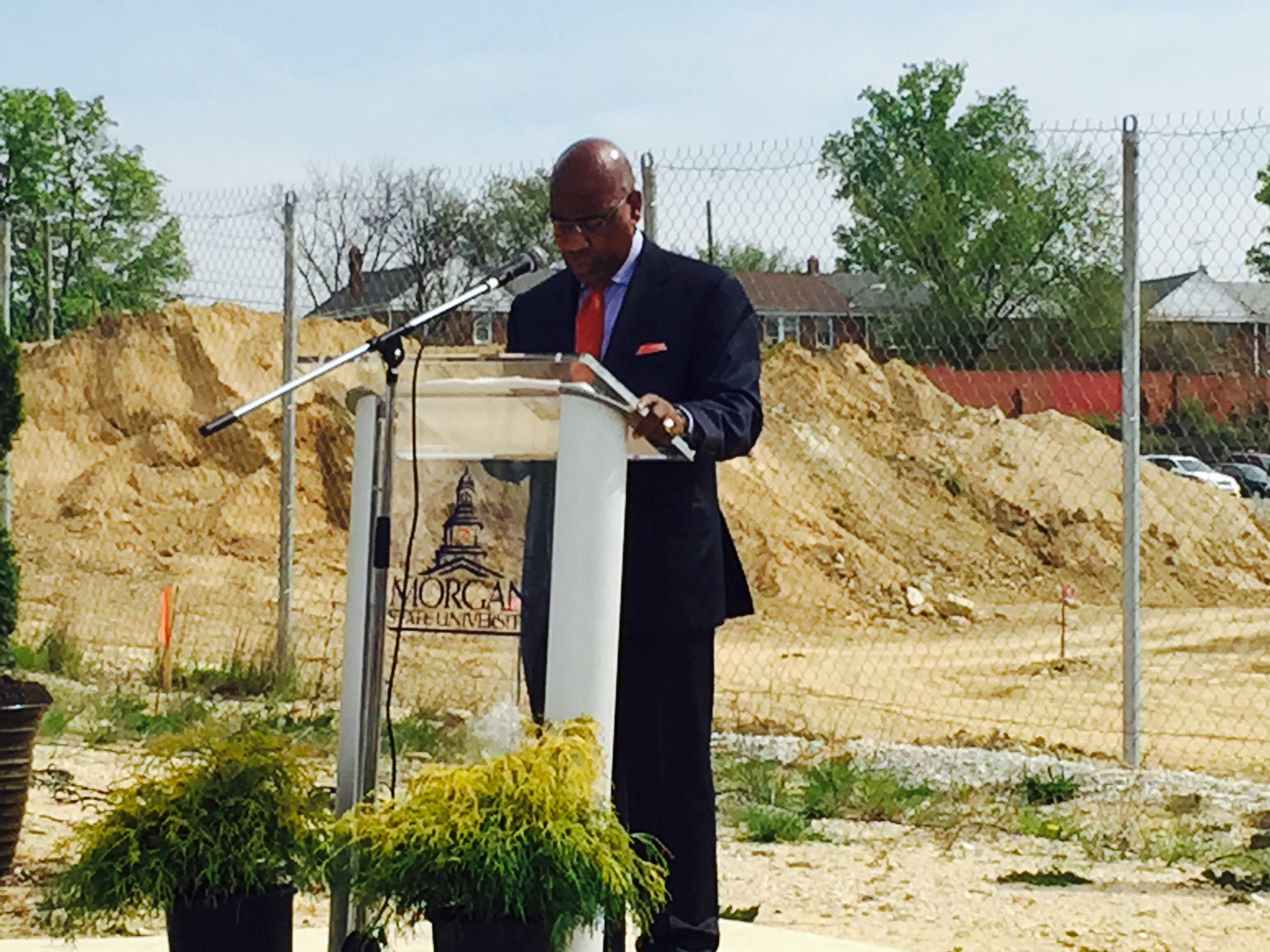 Morgan State University President, David Wilson, speaks at the ceremony for the new Science Center.