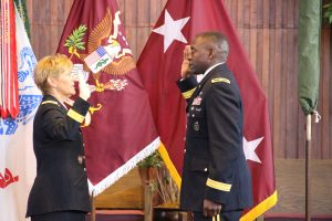 Lieutenant General Patricia Horoho administers Brigadier General Raymond Scott Dingle's Oath of Office.