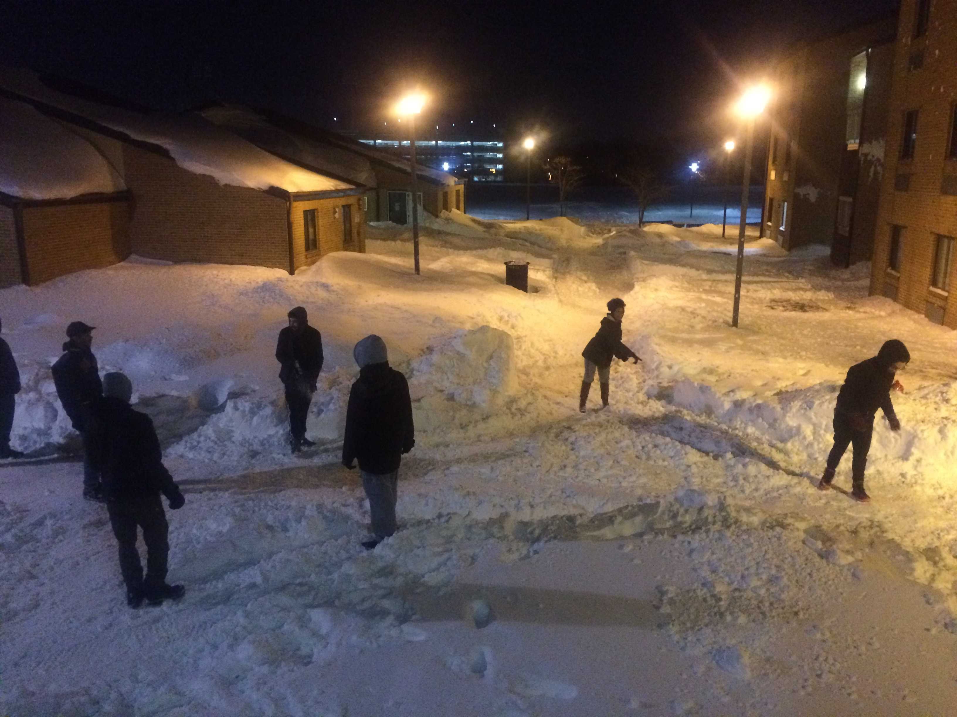 Students enjoy the aftermath of Winter Storm Jonas.  Photo by Akira Kyles