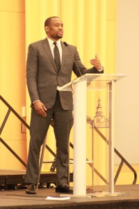 Marc Lamont Hill speaks to the audience of the SGA's Black History Month Lecture. Photo by Terry Wright