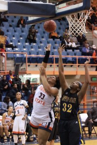 Sophomore Lexus Spears fights for a layup against Coppin State University on Monday night. Photo by Terry Wright.