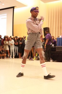 Omega Psi Phi prepares to perform at the Project X Stroll Competition.  Photo by Terry Wright.
