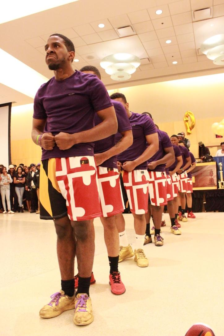 Members of Omega Psi Phi performing at the Project X Stroll Competition.  Photo by Terry Wright.