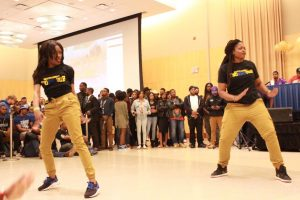 Members of Sigma Gamma Rho performing at the Project X Stroll Competition.  Photo by Terry Wright.