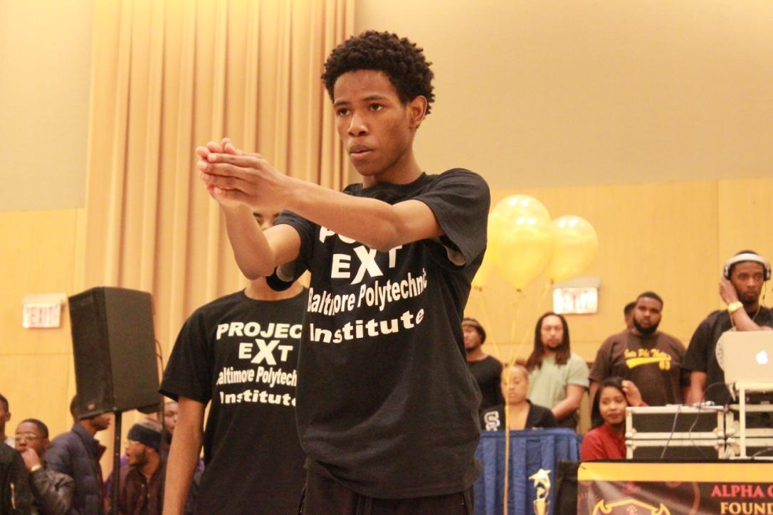 Members of Baltimore Polytechnic Institute's step team perform at the Project X Stroll Competition.  Photo by Terry Wright.