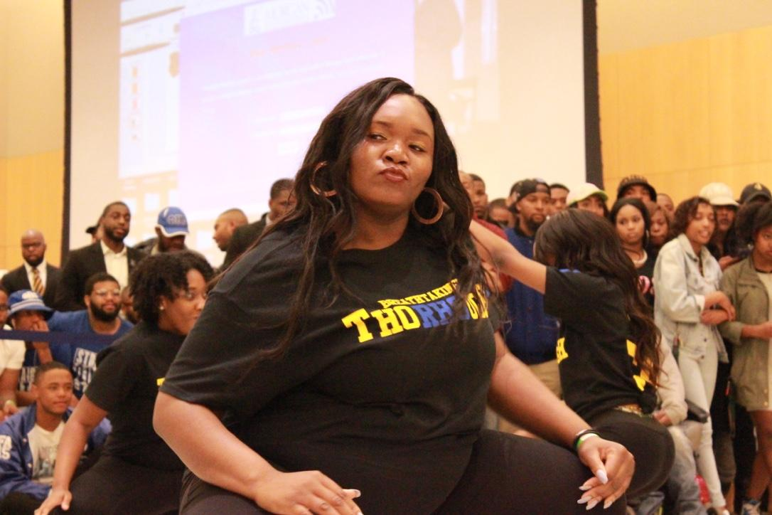 Members of Sigma Gamma Rho perform at the Project X Stroll Competition.  Photo by Terry Wright.