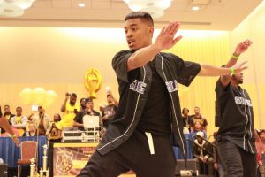 Members of Phi Beta Sigma perform at the Project X Stroll Competition.  Photo by Terry Wright.