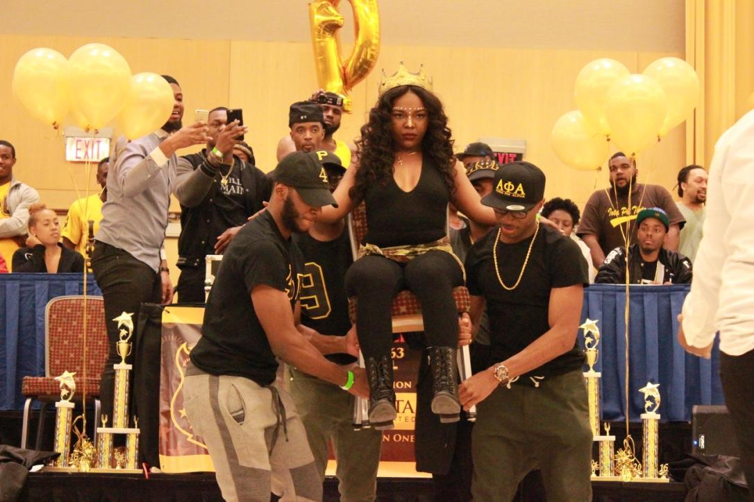 Members of Alpha Phi Alpha perform at the Project X Stroll Competition.  Photo by Terry Wright.