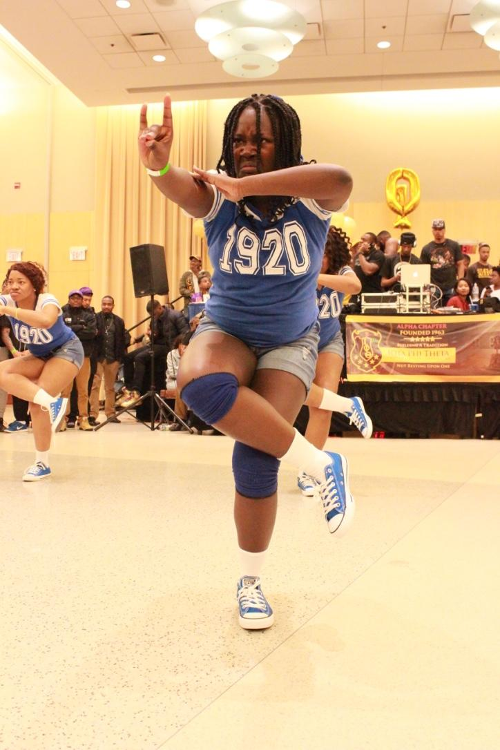 Members of Zeta Phi Beta perform at the Project X Stroll Competition.  Photo by Terry Wright.