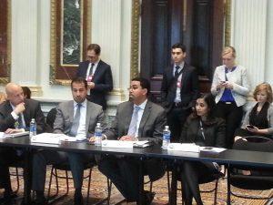 From left to right: Eric Waldo, Robert Rodriguez, John King (center), and Ajita Menon. Photo by Shawn Massie.