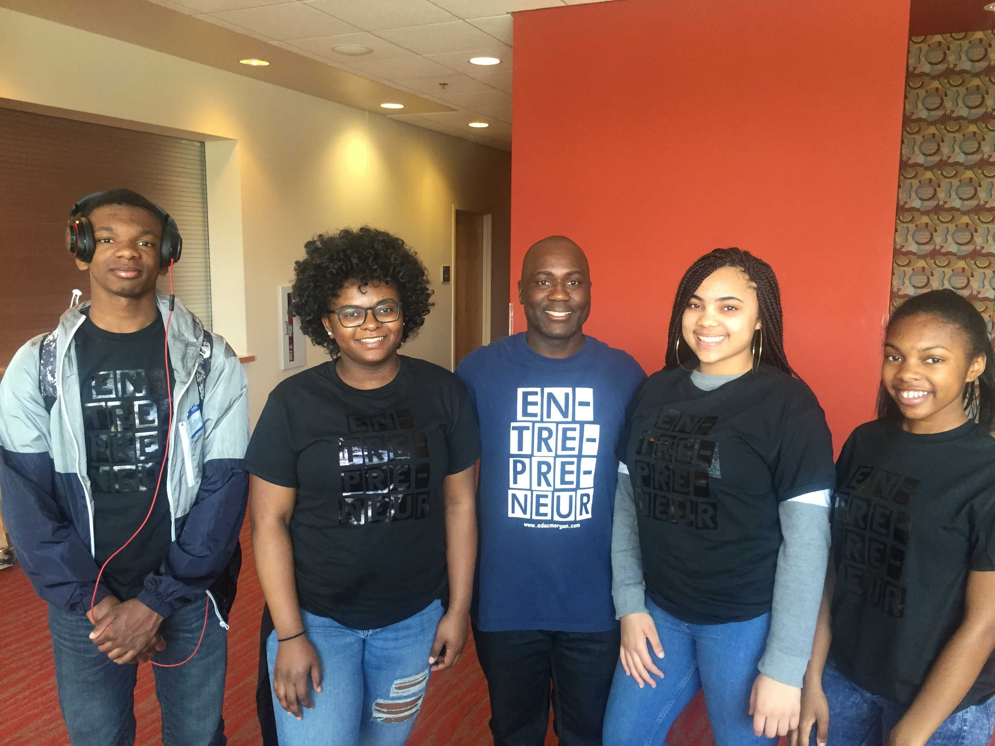 From left to right: Joshua Vaughan, 16, Jada Gillison, 14, Omar Muhammad, Director of EDAC, Kennedi Vaughan, 15, Jessica Vaughan, 14. Photo by Ahjahnae LaQuer