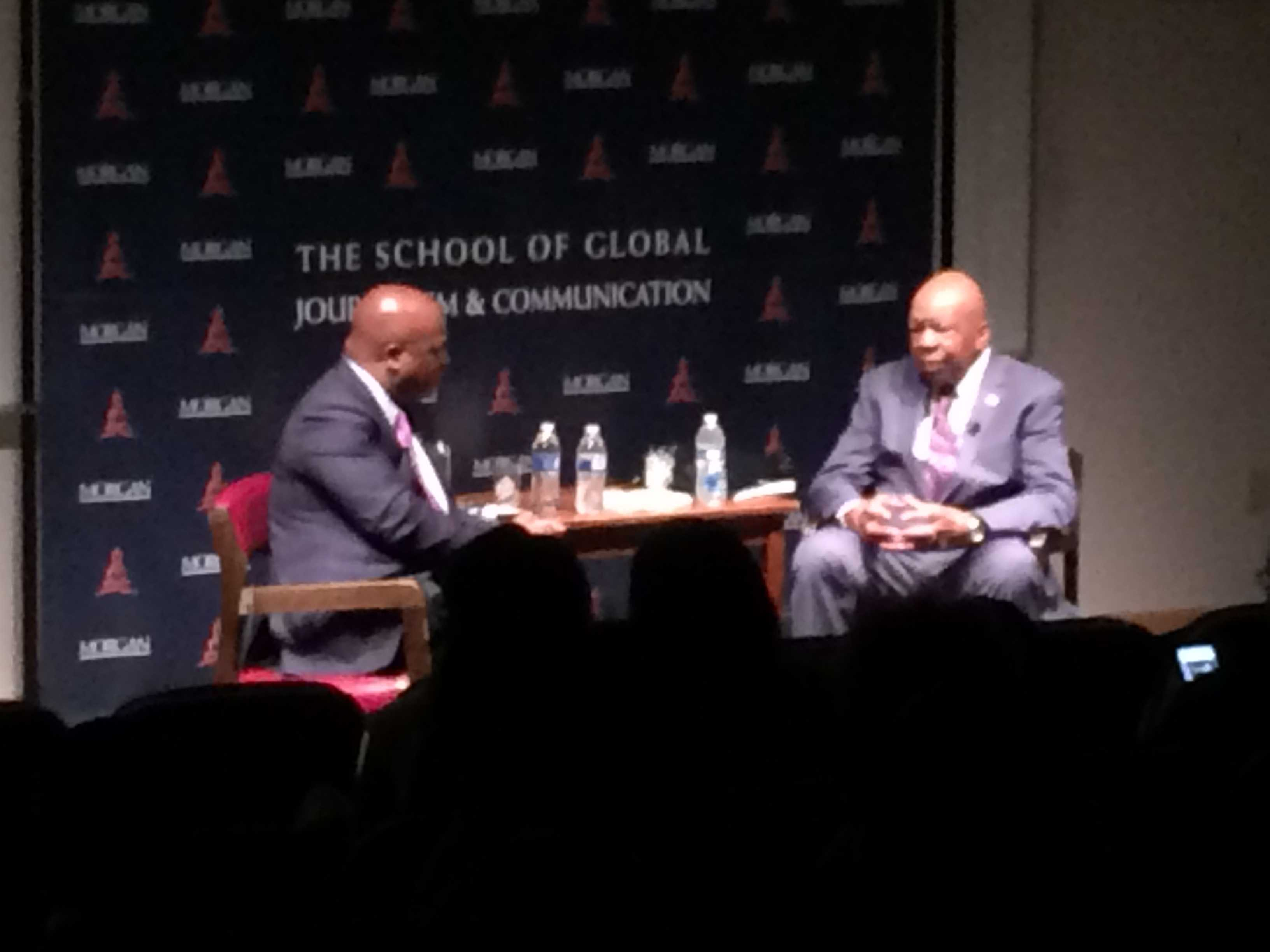 Vic Carter (left) and Rep. Elijah Cummings (right) in the Master Class interview. Photo credit: Tramon Lucas