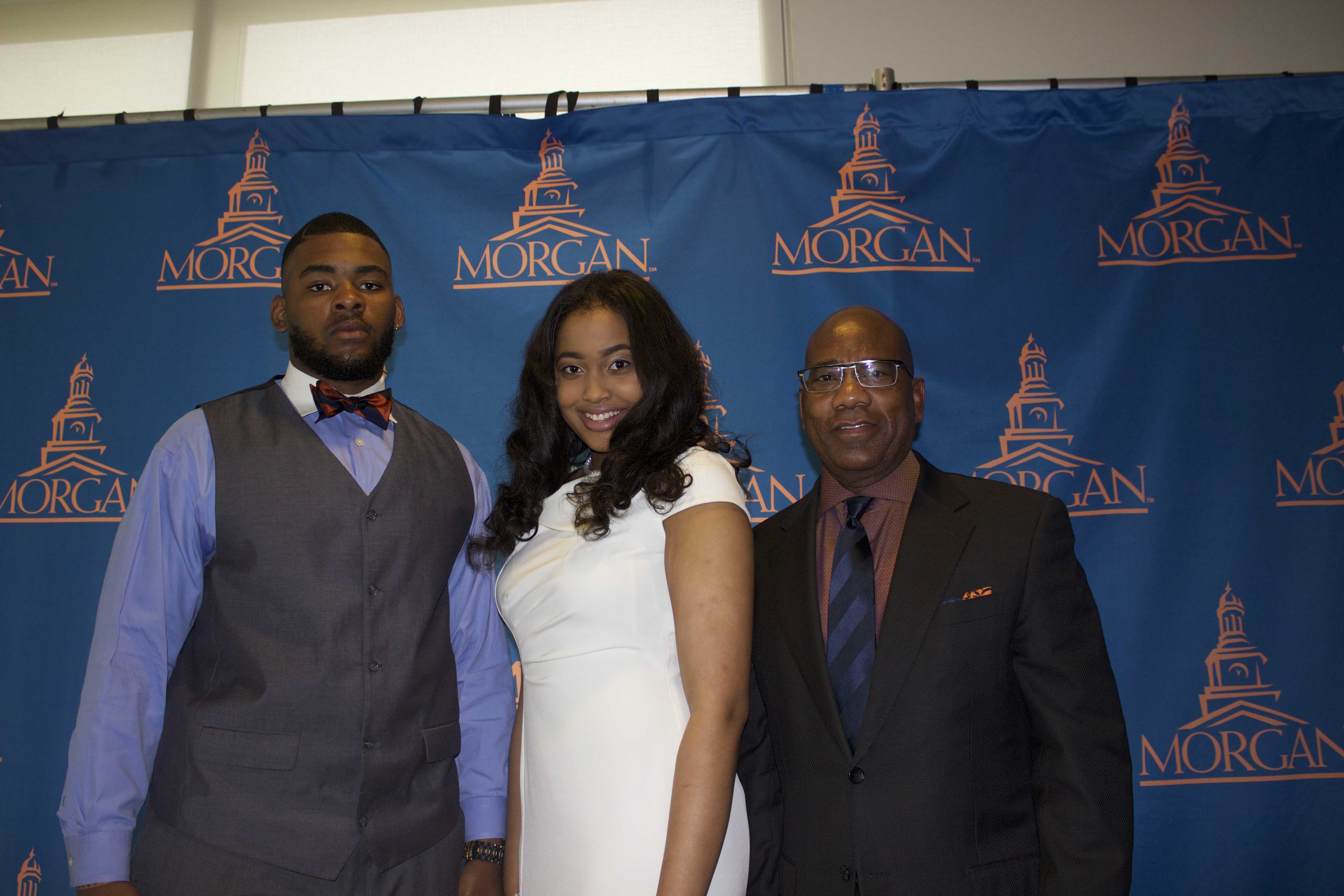 (Left to Right) Mr. Morgan Andrew Mitchell; Miss Morgan Chelsea T. Johnson; MSU President David Wilson. Photo credit: Tramon Lucas, Managing Editor