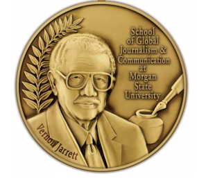 Picture of the medal of the Vernon Jarrett award.