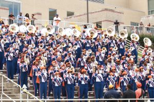 The Magnificent Marching Machine entertains the fans in the Bears' contest against Holy Cross. Photo by Terry Wright.
