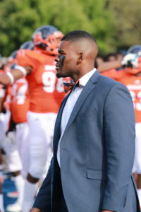 Mr. Morgan State University, Andrew Mitchell, looks on supporting the football team against Holy Cross. Photo by Terry Wright.