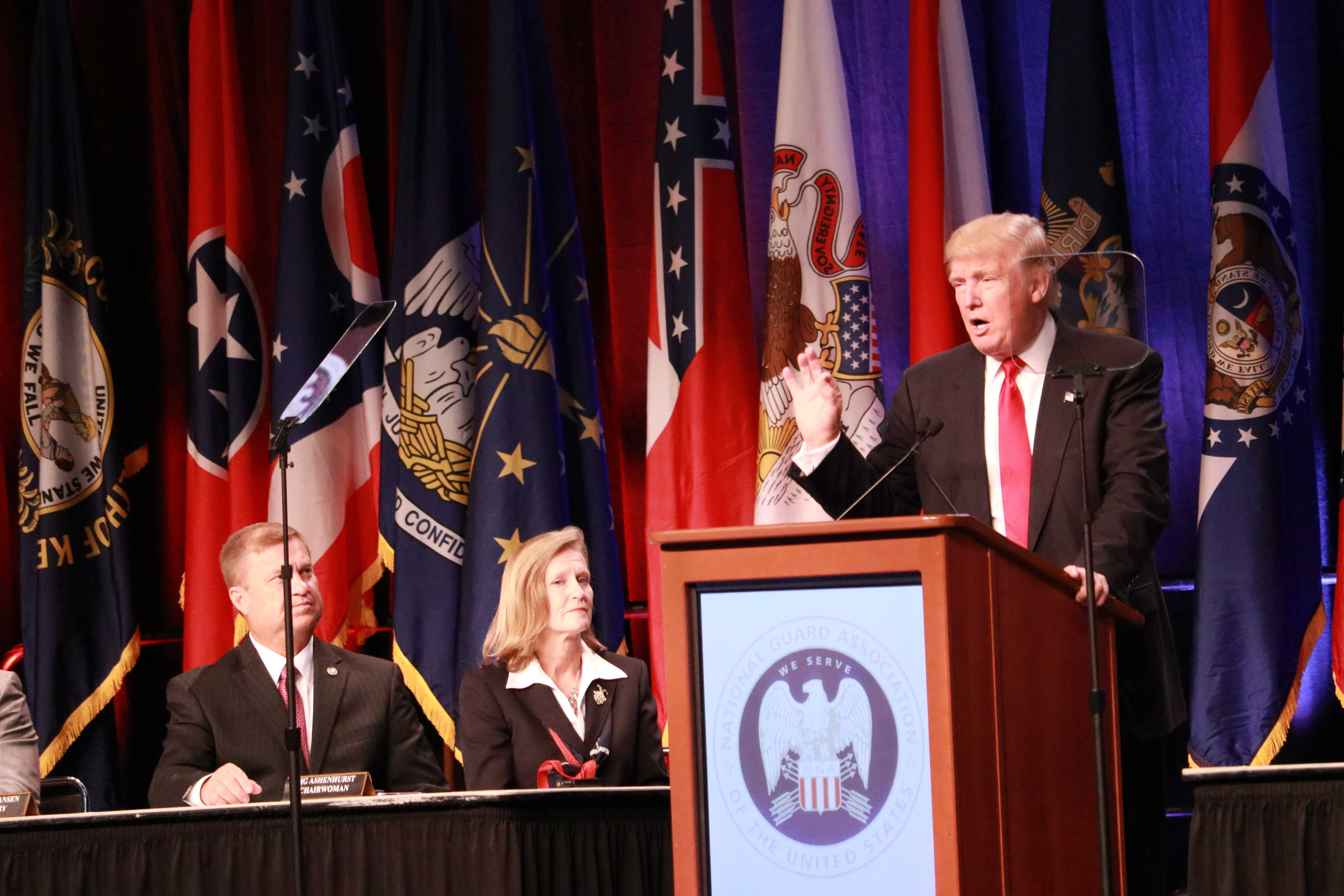 Donald Trump speaking at the National Guard Association's 138th General Conference and Exhibition. Photo by Terry Wright.