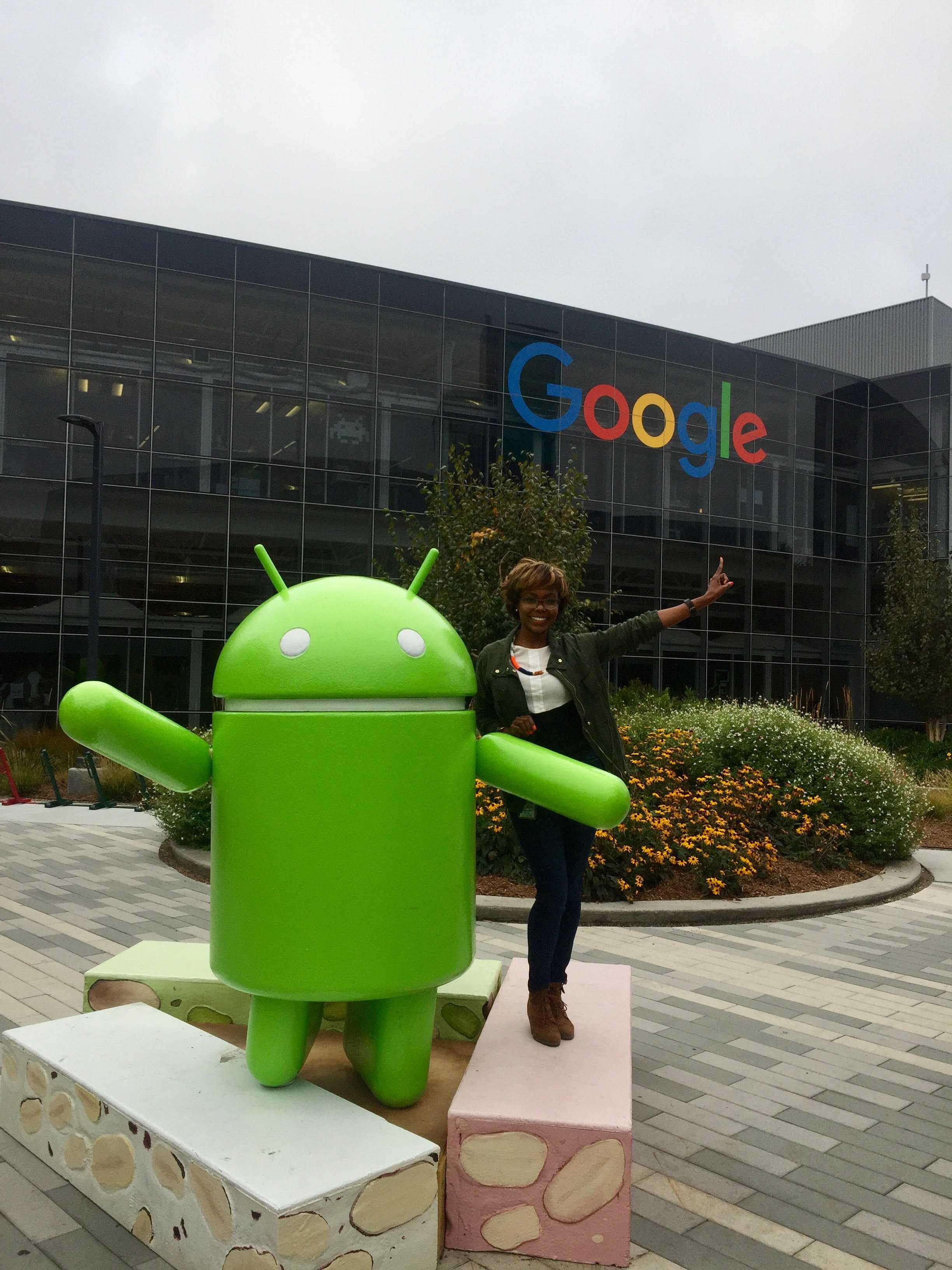 Morgan State alumna Eartha Peterson stands in front of Google Headquarters. Submitted photo.