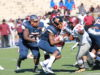 Sophomore running back Eric Harrell runs the ball against NCCU. Photo by Terry Wright.