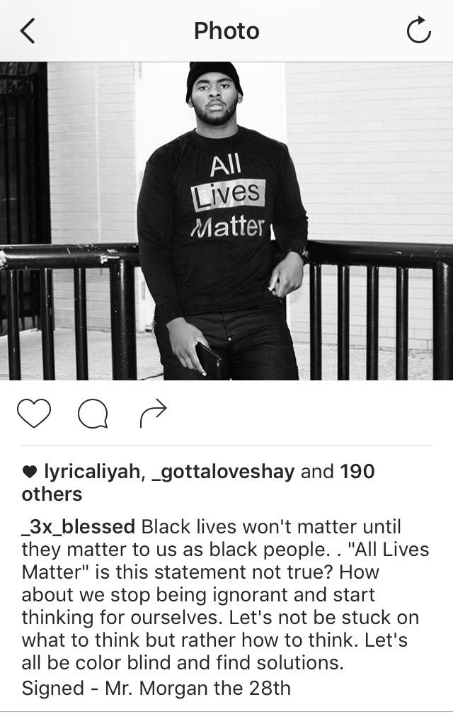 Andrew Mitchell, Mr. Morgan, expressing his views on All Lives Matter and Black Lives Mather. Courtesy of Mr. Morgan's Instagram.