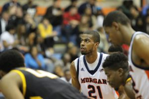 Senior Kyle Thomas prepares for a free throw attempt in Tuesday's game against Towson. Photo by Wyman Jones.