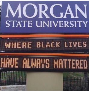 Morgan State University signs as seen on campus.