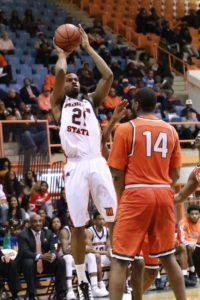 Senior forward Kyle Thomas puts up a shot in a 77-60 win against FAMU. Photo by Terry Wright.
