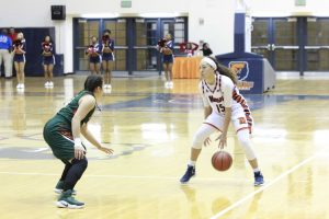 Sophomore guard Chelsea Mitchell prepares to run a play in a 61-26 loss to FAMU. Photo by Wyman Jones.