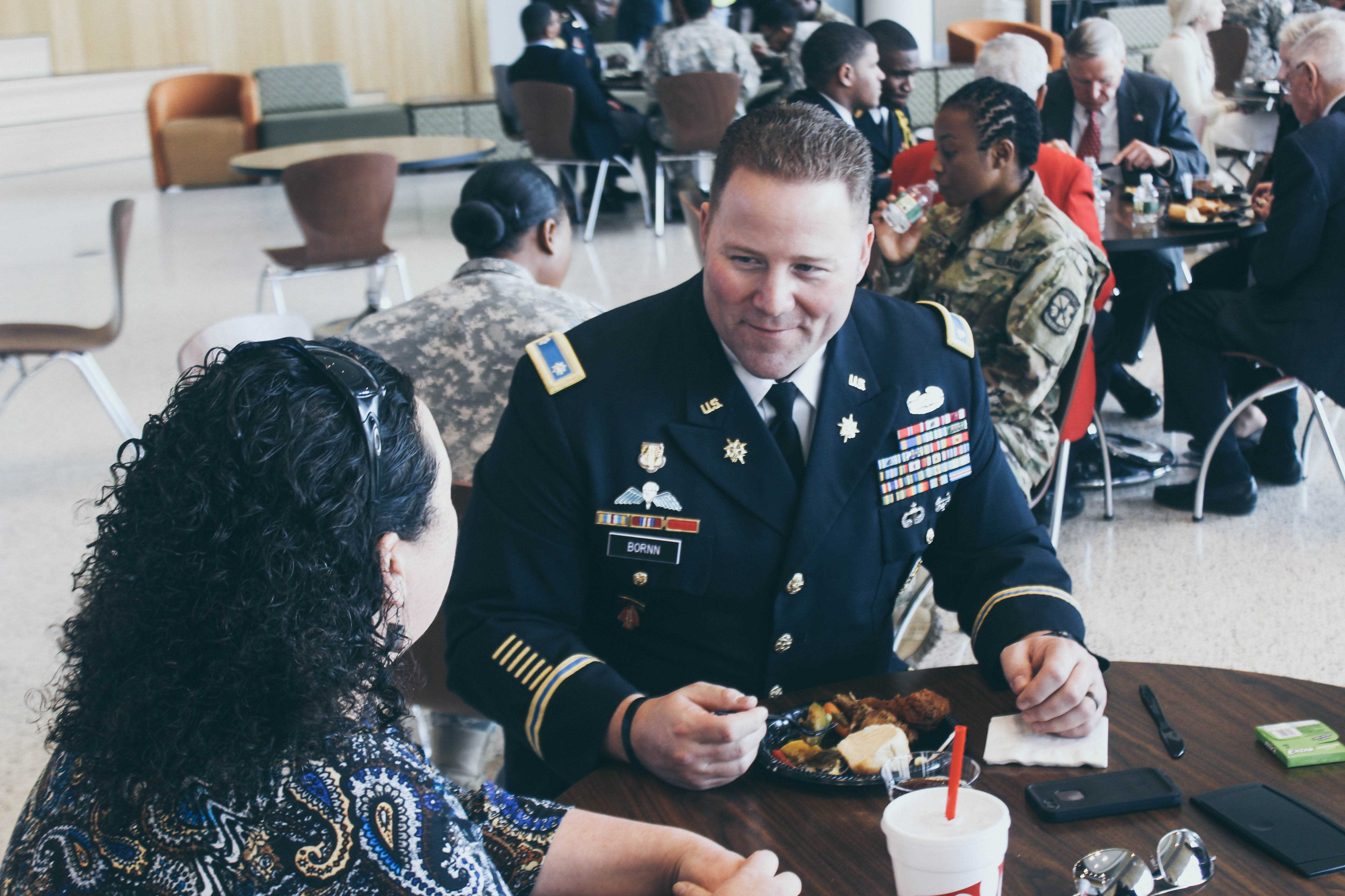 Lt. Col. David Bornn, professor of military science at Morgan State University and his wife, Kandi Bornn, at the Tuskegee Airman Symposium luncheon. Photo by Maliik Obee.