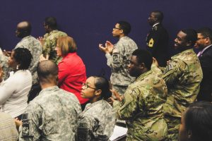 Members of the Morgan State University/Coppin State University Army ROTC listen to words from Retired Col. Charles McGee. Photo by Maliik Obee.
