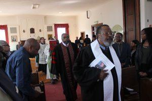 Rev. Bernard Keels entering the Morgan State University Chapel on Sunday morning. Photo by Wyman Jones.