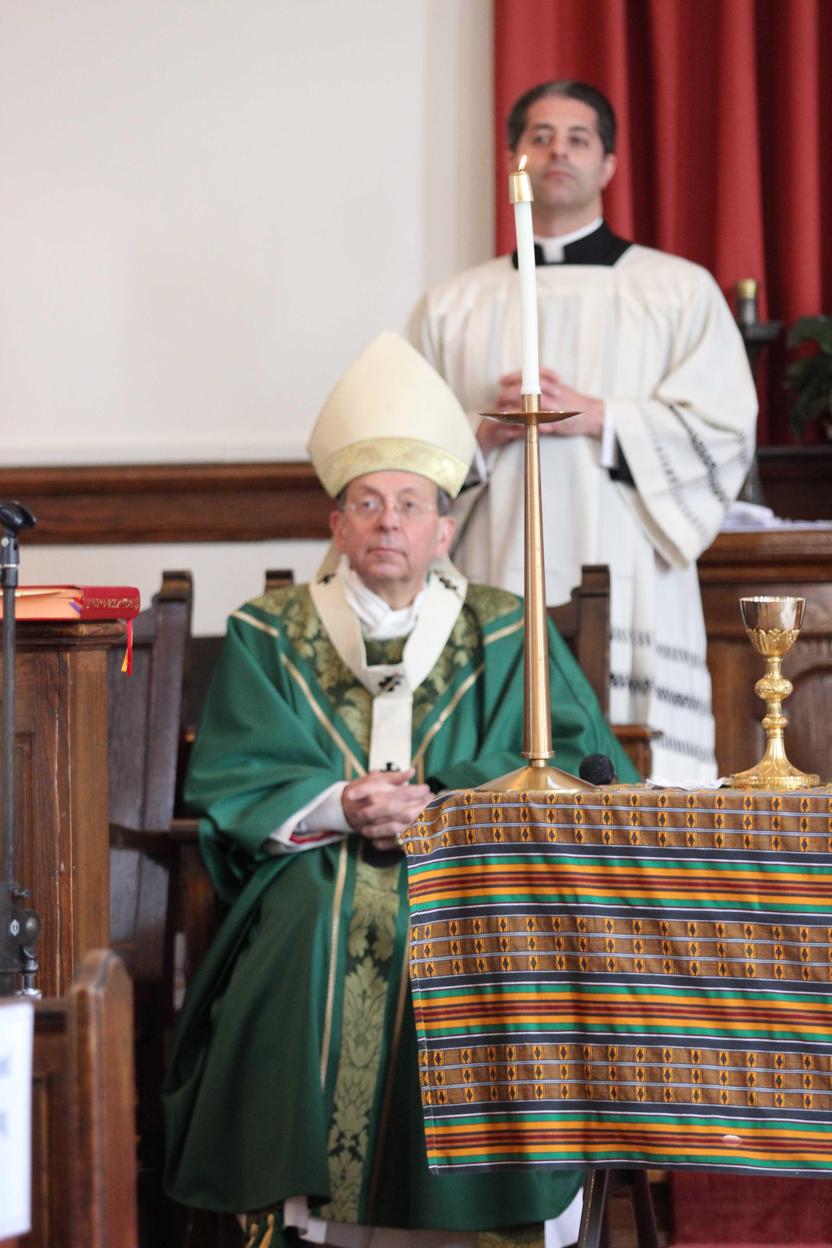 William Lori, the Archbishop of Baltimore, at Sunday mass in Morgan State University's chapel. Photo by Wyman Jones.