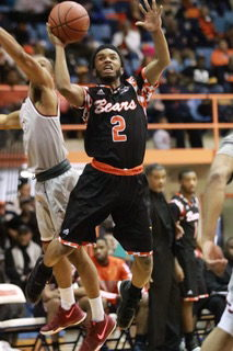 Sophomore guard Martez  Cameron attempts a layup in a loss against NCCU. Photo by Terry Wright.