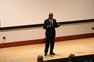 Morgan State University president David Wilson addresses the audience at his biannual town hall.