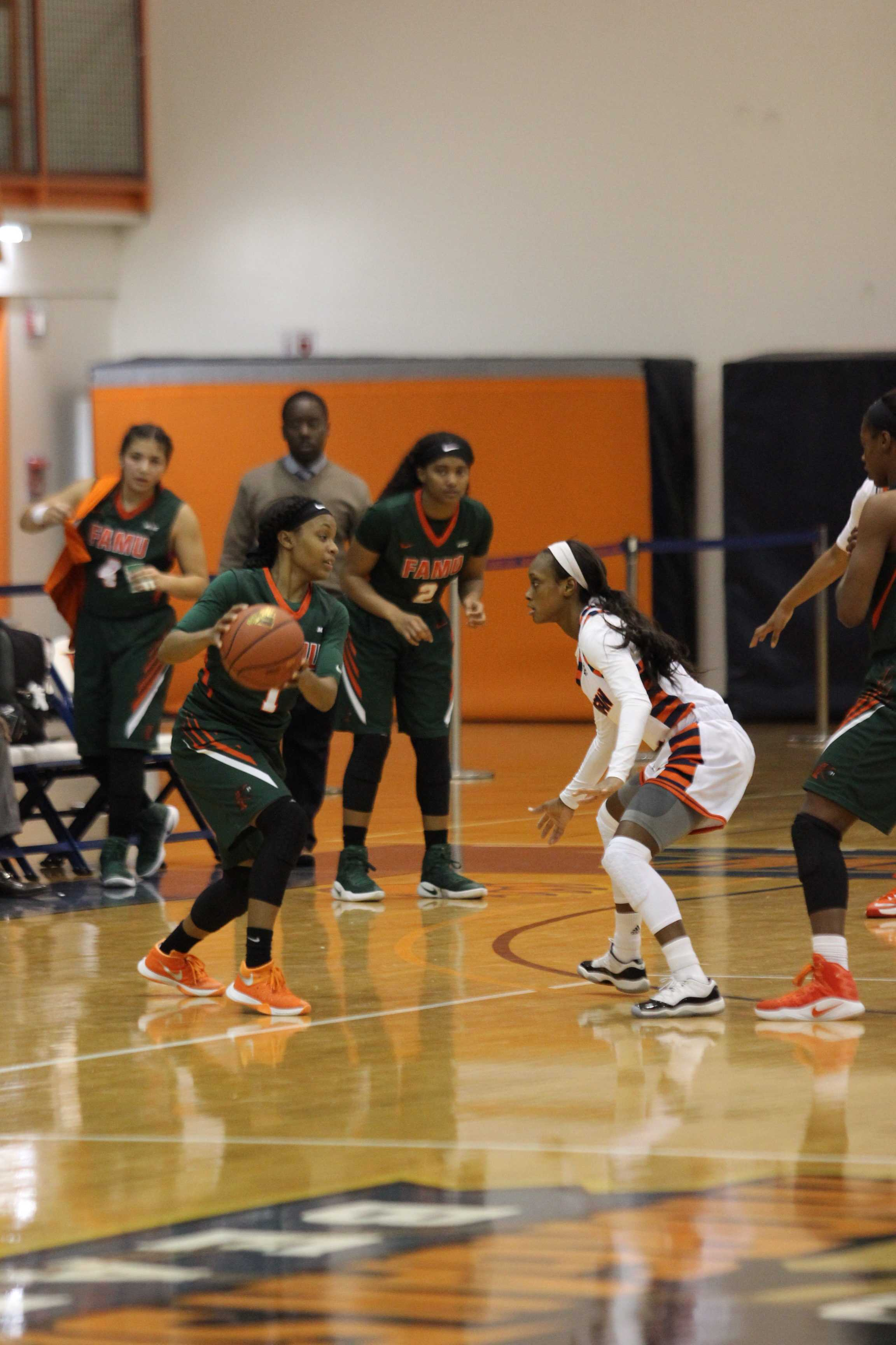 Farrar squaring up on defense in a game earlier this season against Florida A&M University.