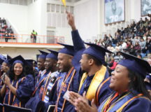 Morgan State University gathers in the Hill Field House for the final commencement of Morgan's 150th celebration